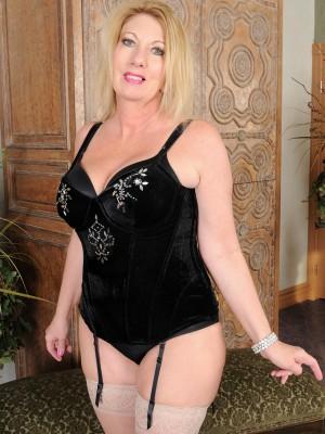 ... older Summer Sands slides off her slinky black underware   All Over 30